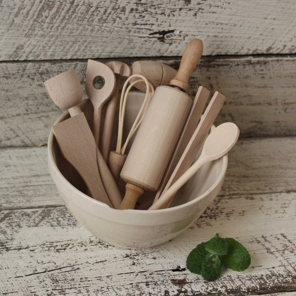 Kids wooden cooking tool set