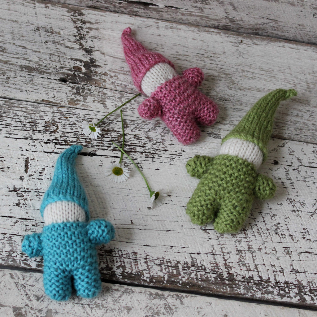 Hand knitted little gnomes softie toy