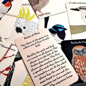 Beautiful bird illustrations by Bridget Farmer feature on the card game sure to become a family favourite. Available at Tribe Castlemaine