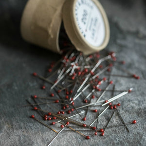 Flame red lace pins, from the oldest pin factory in Spain, from Merchant & Mills at Tribe Castlemaine.