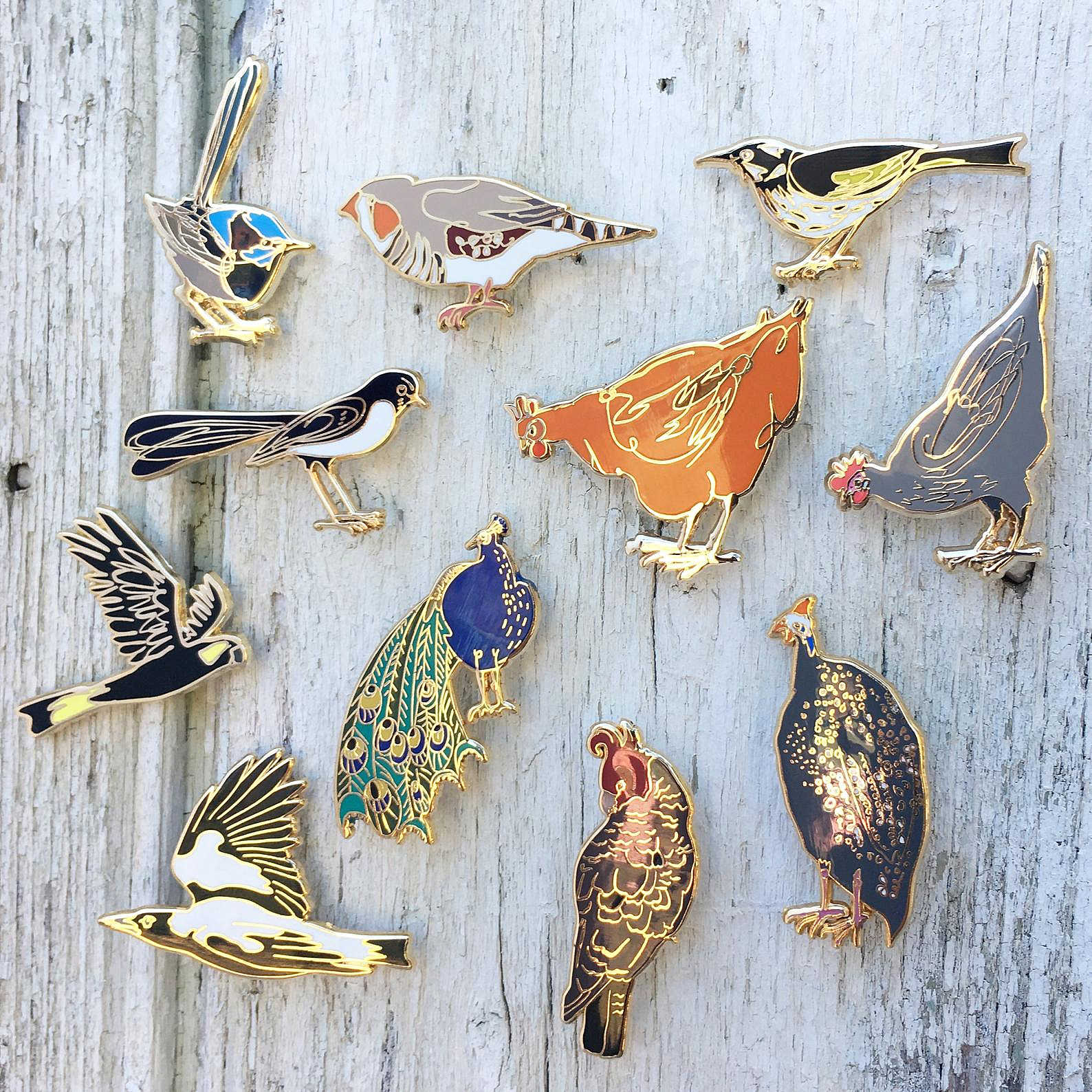 Bridget Farmer lapel pins featuring Australian birds at Tribe Castlemaine
