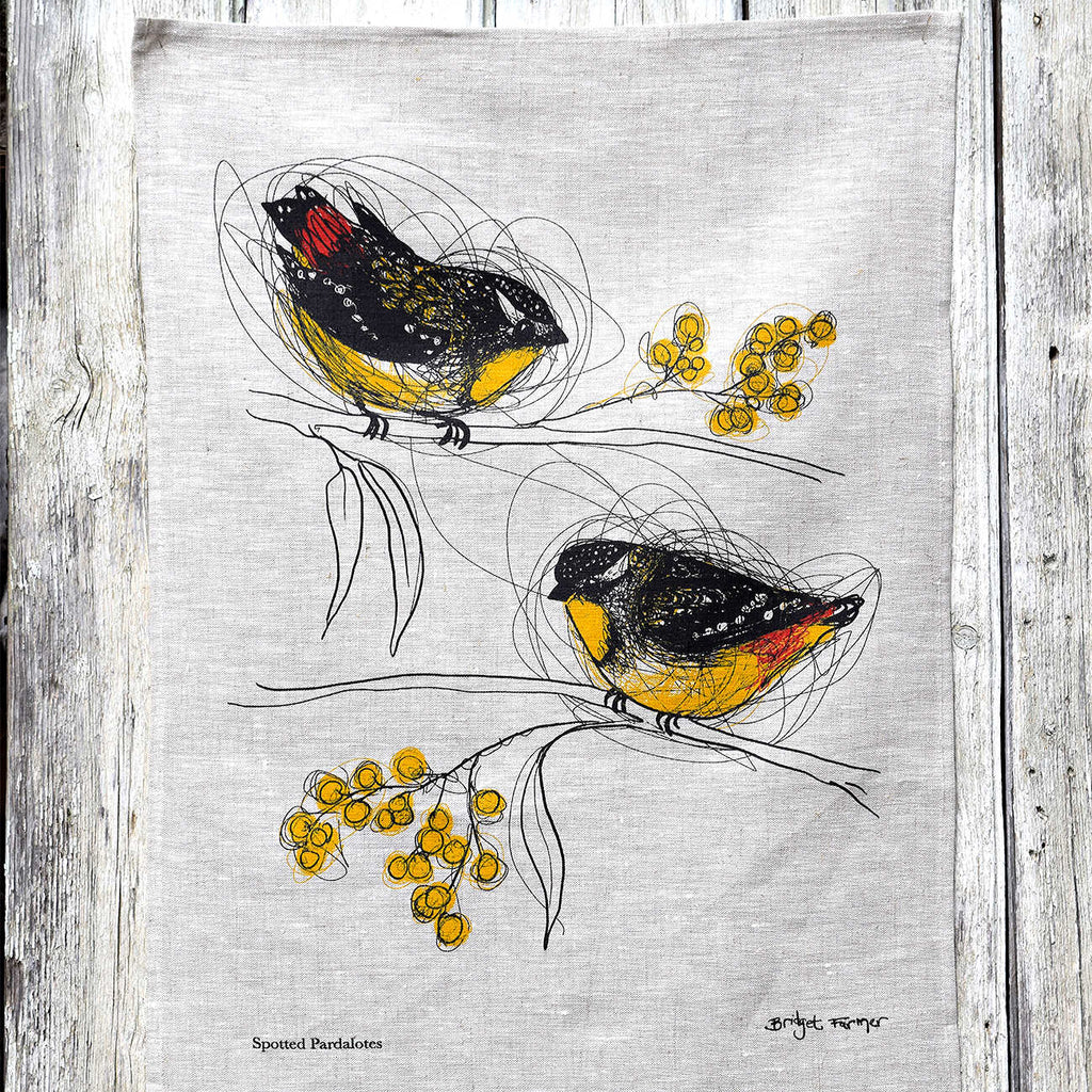 Linen Tea Towel: Spotted Pardalotes