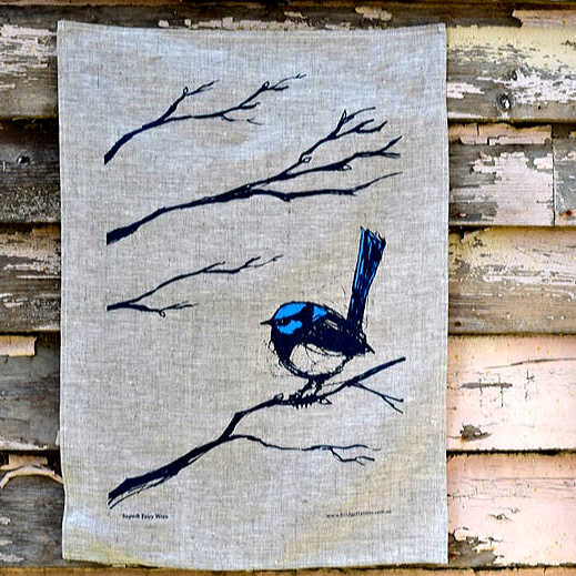 Bridget Farmer linen tea towel Superb Fairy Wren
