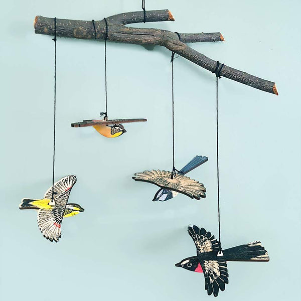 Bridget Farmer's lino cut screenprint wooden mobiles of Australian native birds available at Tribe Castlemaine
