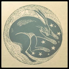 Original Lino Cut Prints : Woodland Hares : Three Designs