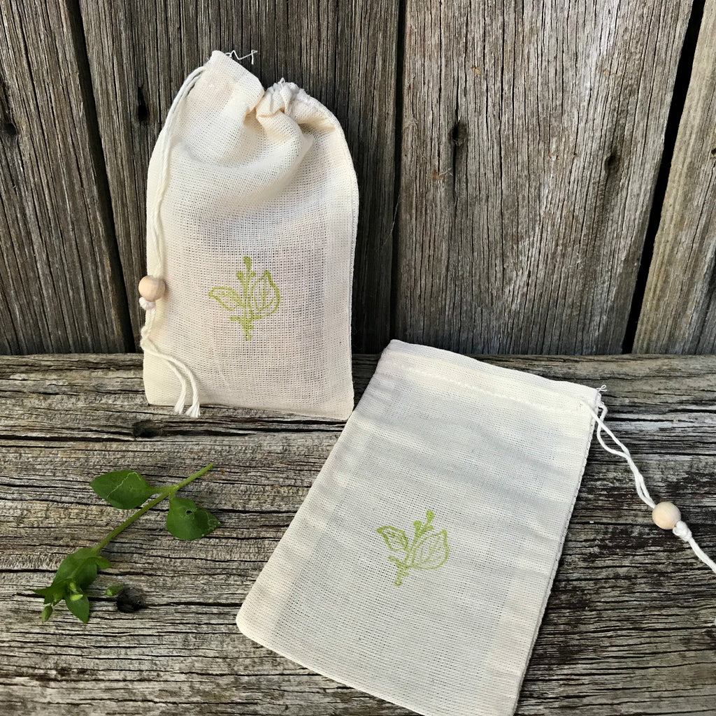 Sweet little cotton muslin bags perfect for gift giving or party favour bags from Tribe Castlemaine