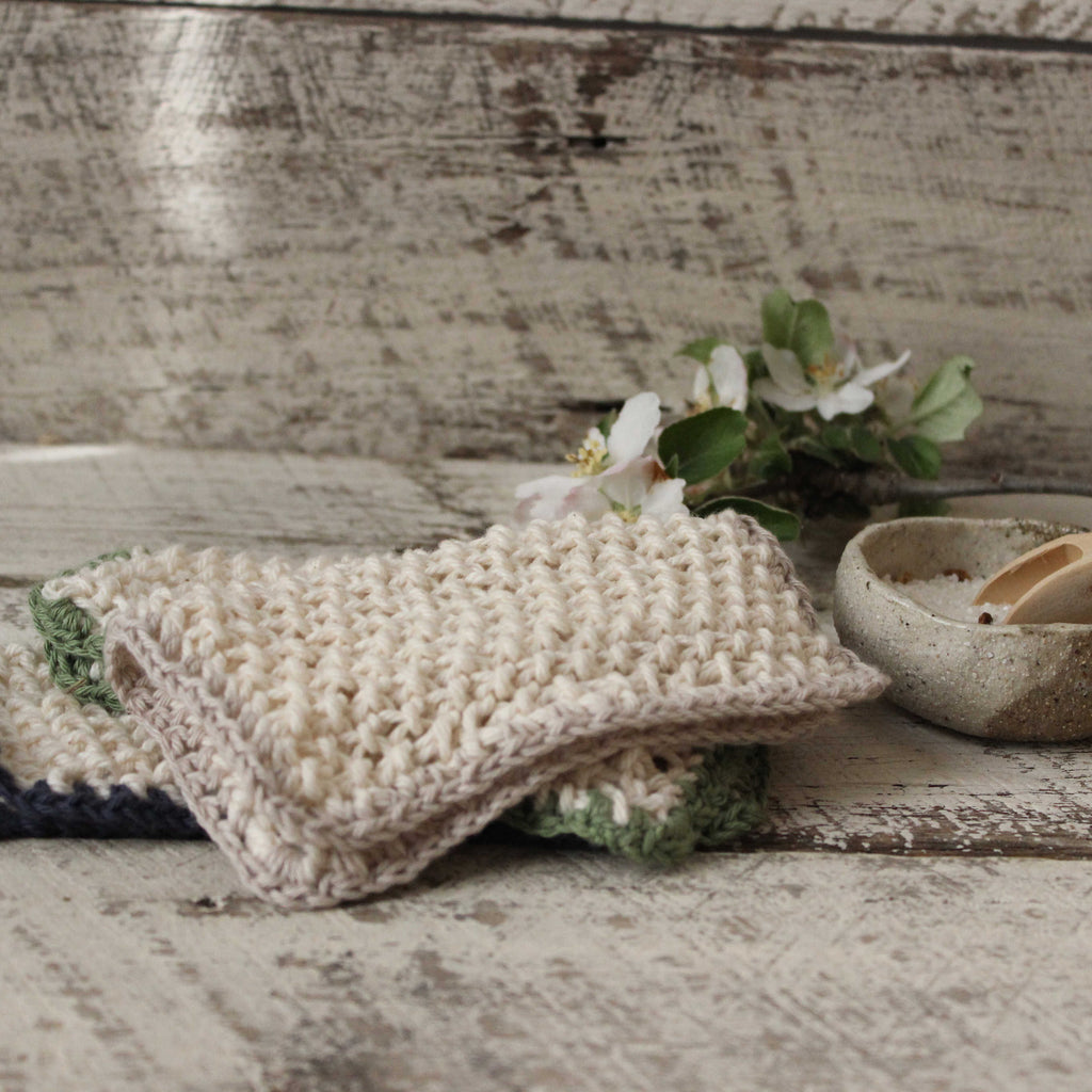Natural cotton washcloths handmade by Amy Jade Creations