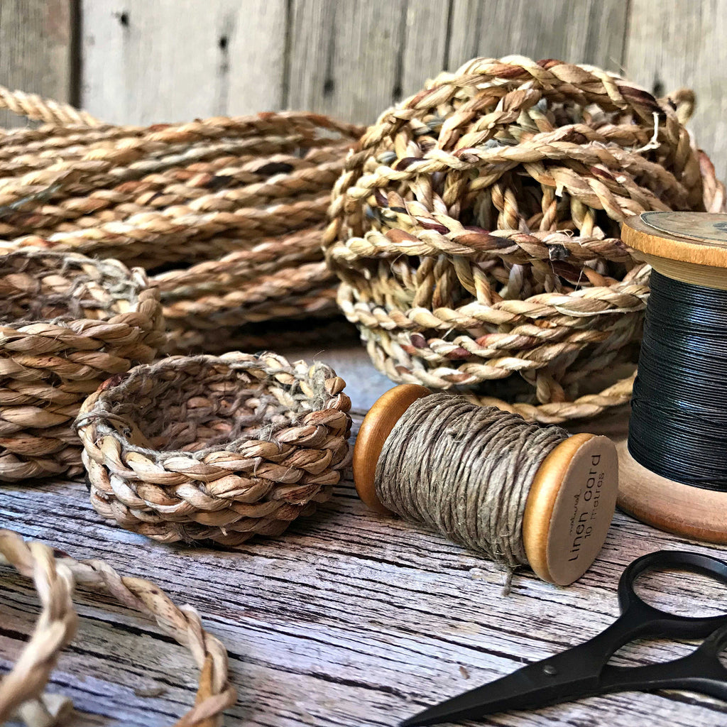 Natural handmade cordage for basket making
