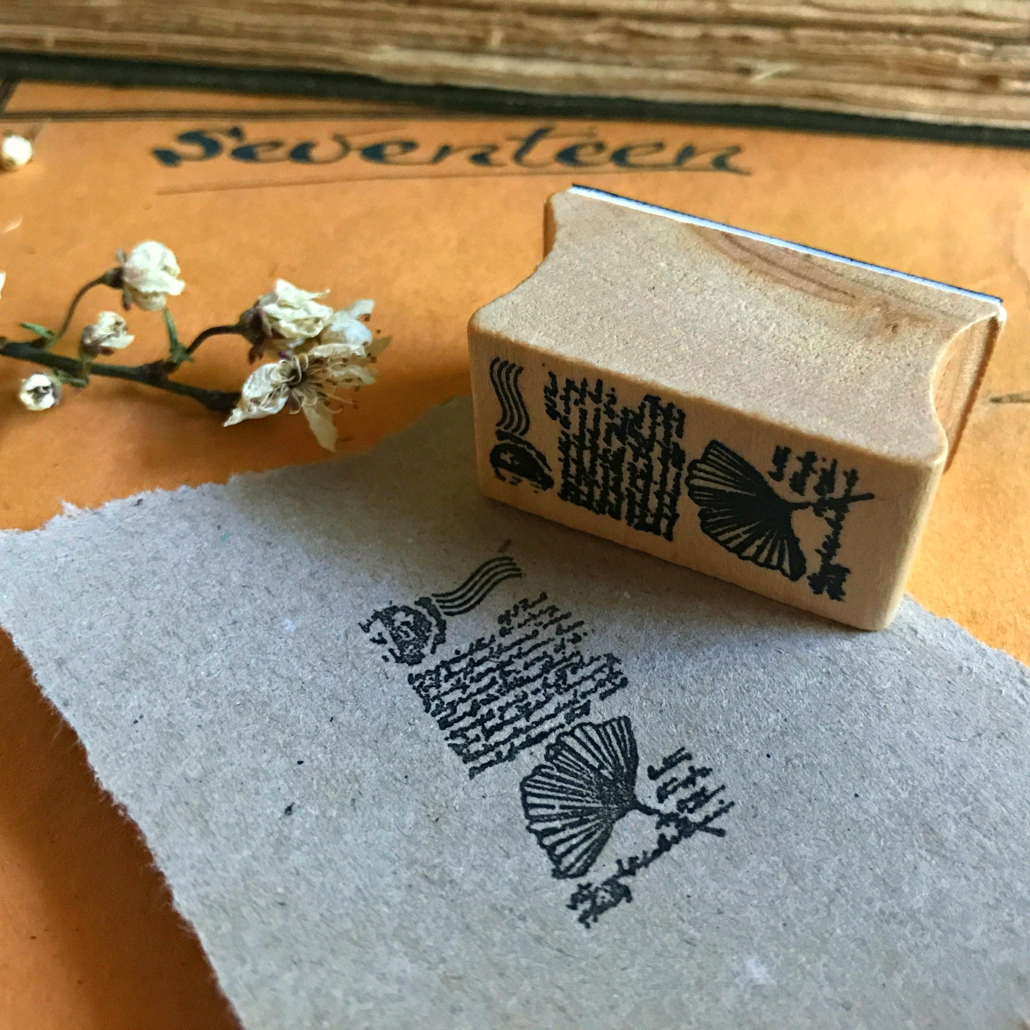 Rubber stamps with vintage botanical leaf design for papercraft, journalling, stationery making from Tribe Castlemaine