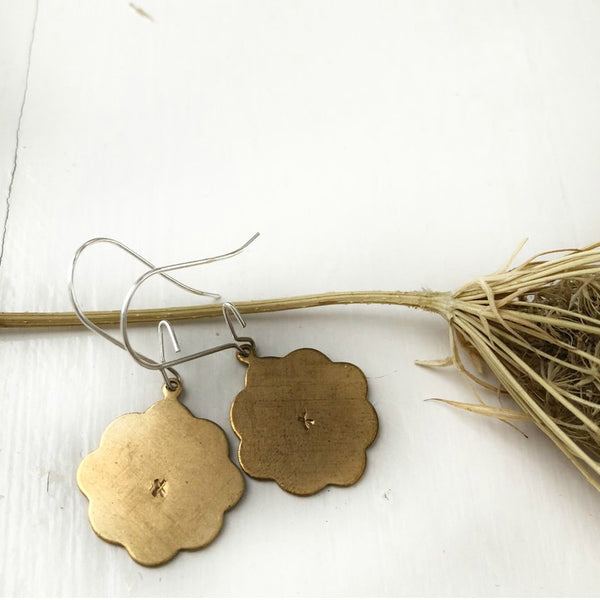 Moroccan inspired scalloped brass flower earrings