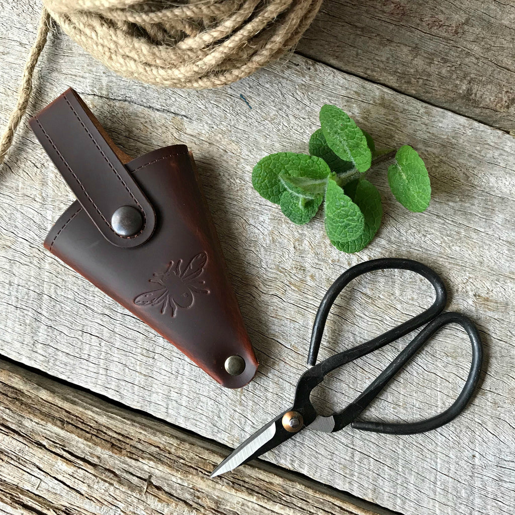 Traditional steel garden snips, gifts for gardeners, scissors in recycled leather pouch, available at Tribe Castlemaine