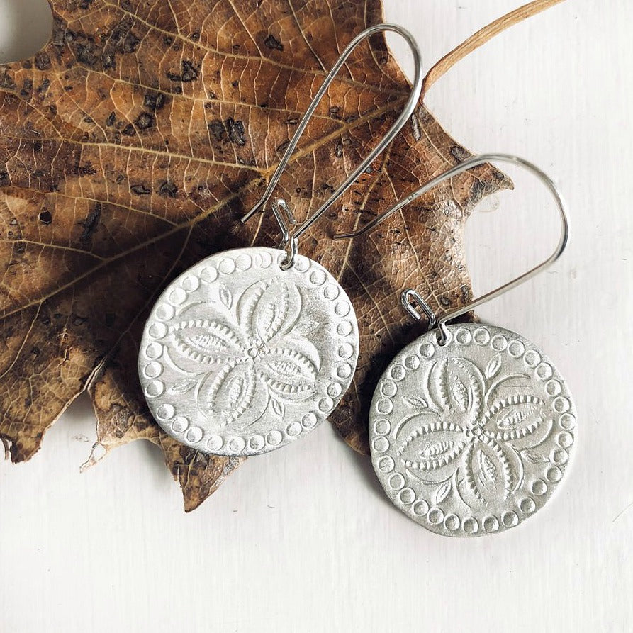 Silver etched disk earrings handmade in Australia by Paird