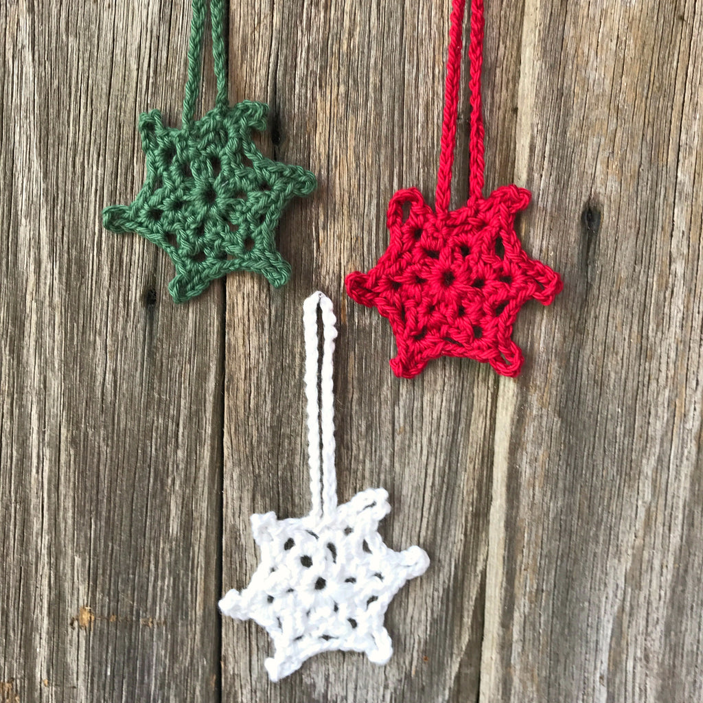 Crocheted cotton snowflakes Christmas decorations handmade by Amy Jade Creations at Tribe Castlemaine