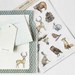 Beautiful hand-drawn illustrations of woodland creatures in this sheet of transparent stickers made by Boots Paper available at Tribe Castlemaine
