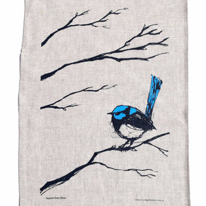 Superb Fairy Wren illustration by Bridget Farmer screenprinted onto high quality linen tea towel available at Tribe Castlemaine