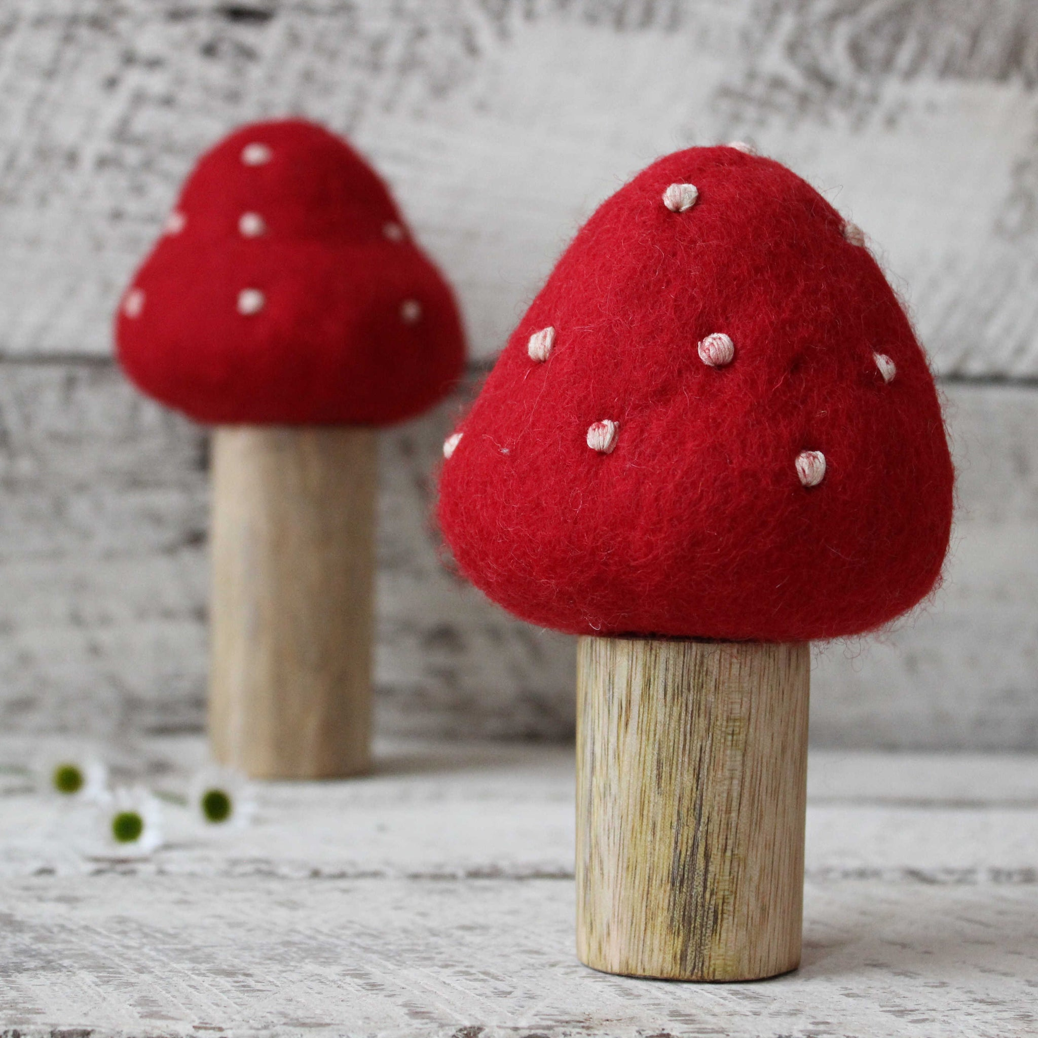 Large toadstools handmade from wood and felt