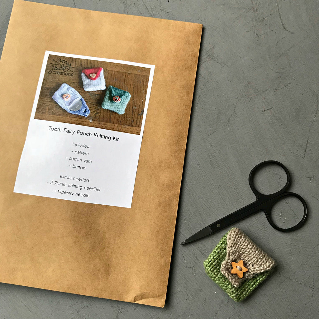 Craft kit to make your own tooth fairy pouch handknitted made by Amy Jade Creations available at Tribe Castlemaine