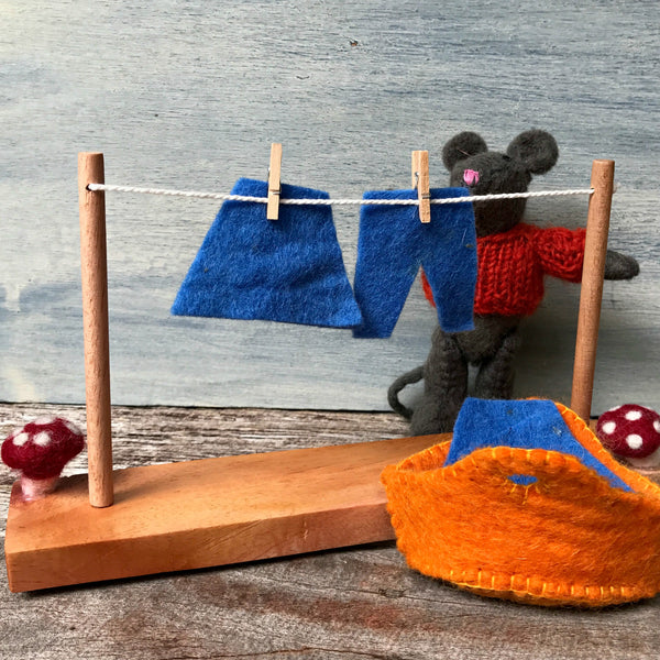 Little washing line set, all natural Steiner inspired Waldorf toys for imaginative play from Tribe Castlemaine