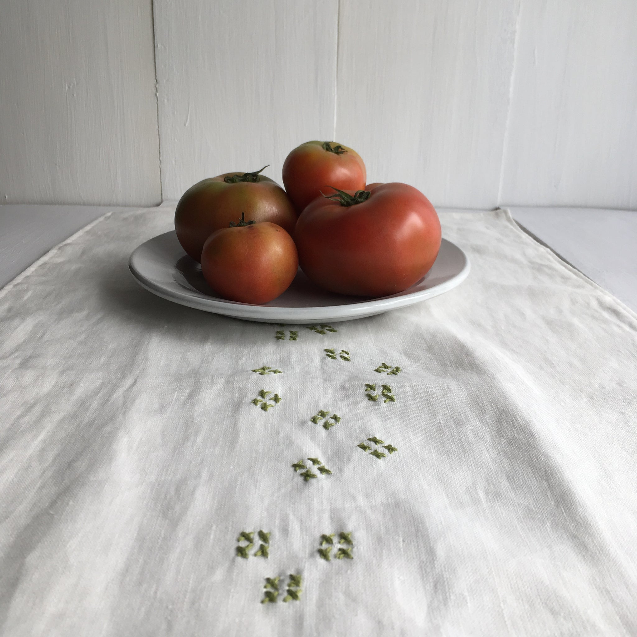 Linen Table Runners with Slow Stitch Detail