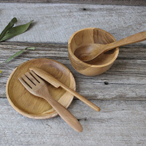 Wooden plates bowls and cutlery for children buy at Tribe Castlemaine