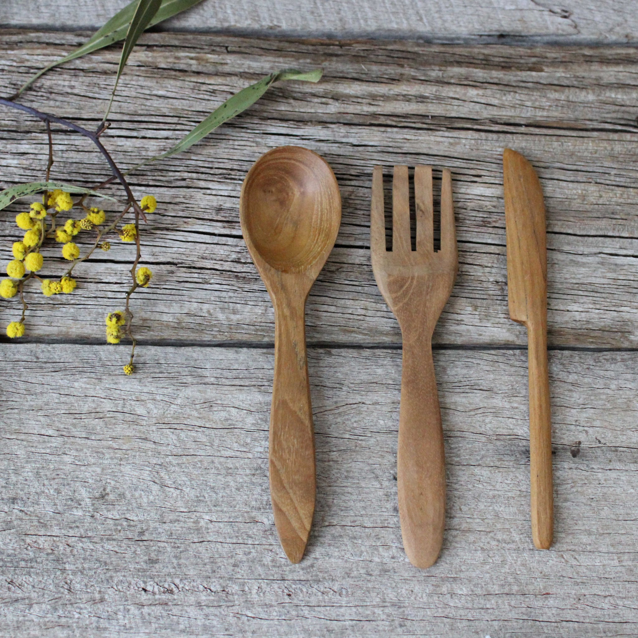 Wooden cutlery for children buy at Tribe Castlemaine