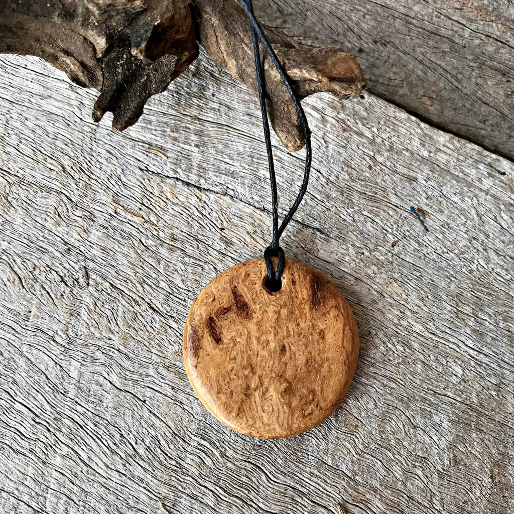 Wooden necklace handmade from reclaimed doolalia timber