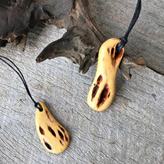 Wooden pendant necklaces handmade from acacia