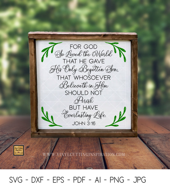John 3:16 - For God So Loved The World - SVG, DXF -  Bible Verse - Free Svg Files