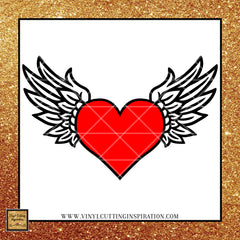 angel wings with heart svg