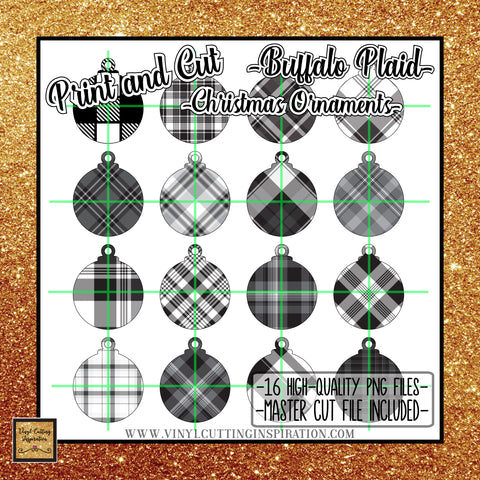 Black and White Buffalo Plaid Christmas Ornaments SVG Print and Cut