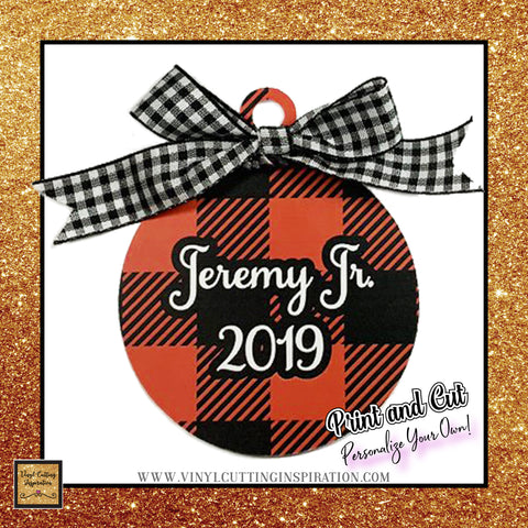 black and red buffalo plaid christmas ornaments