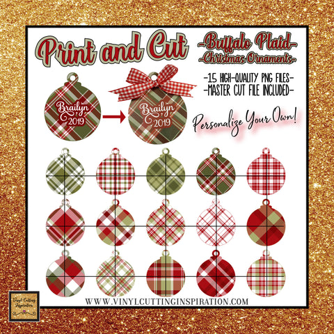 print and cut buffalo plaid christmas ornaments