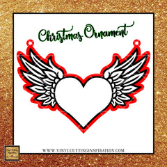 Christmas Ornament Angel Wings with Heart Design