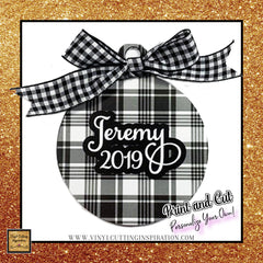 black and white buffalo plaid christmas ornaments print and cut svg