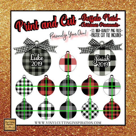 print and cut svg buffalo plaid svg christmas ornaments svg