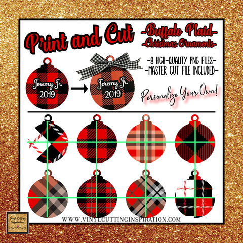 personalized red and black buffalo plaid christmas ornaments