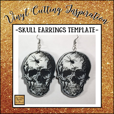 Skull Earrings Template SVG DXF design