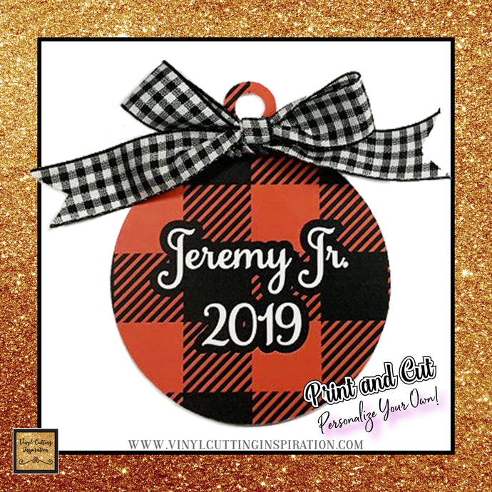 8 Print and Cut Buffalo Plaid Christmas Ornaments - Red N Black, Print and Cut Svg, Buffalo Plaid Svg, Christmas Svg, Print and Cut Cricut