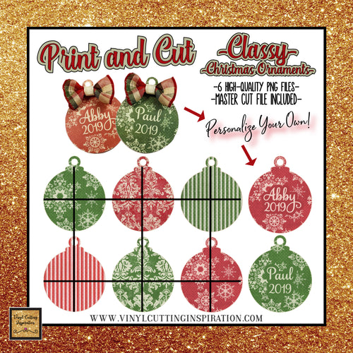 6 Print and Cut Christmas Classy Ornaments, Print and Cut Svg, Christmas svg, Christmas Ornaments, Print and Cut svg Gift Tags, Wood Rounds, clipart for cricut