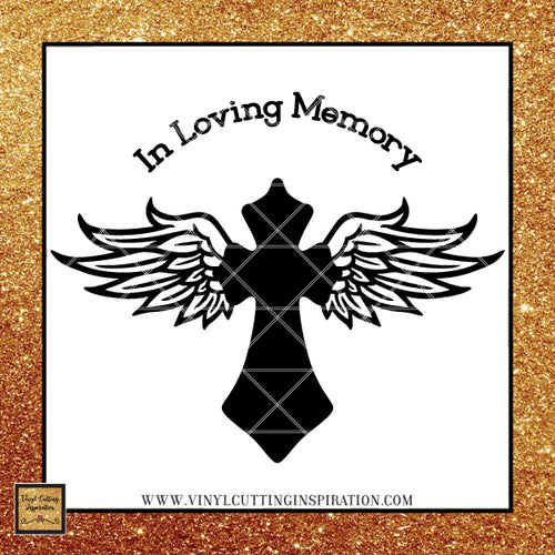 Angel Wings Svg Cross Svg Angel Svg In Loving Memory of Svg  Memorial SVG Sympathy Svg Loss Svg Files Dxf - Vinyl Cutting Inspiration