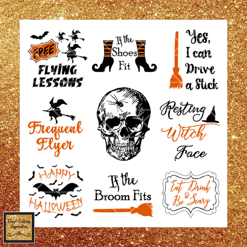 Halloween Svg, Halloween Svg Bundle - Halloween Svg, Witch Svg, Skull Svg, Eat Drink and be scary svg, Free Flying Lessons Svg, If the shoes fit svg, If the broom fits svg, Skull earrings - Vinyl Cutting Inspiration