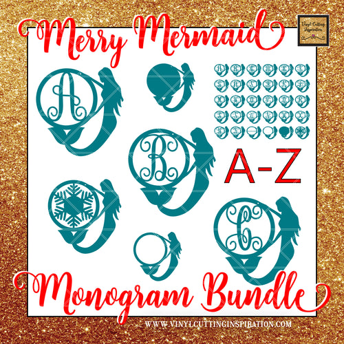 Merry Mermaid Monogram Bundle, Merry Christmas SVG, Mermaid Svg, Mermaid Christmas Ornament, Christmas Tree Svg, Christmas Svg, Christmas Tree Ornaments, Christmas Ornament, Laser cutting door hanger templates - Vinyl Cutting Inspiration
