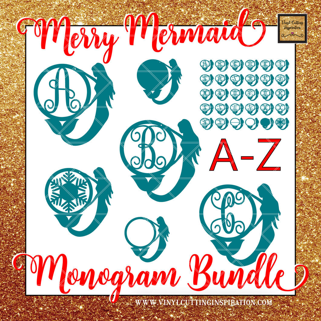 Merry Mermaid Christmas Monogram Bundle Vinyl Cutting Inspiration