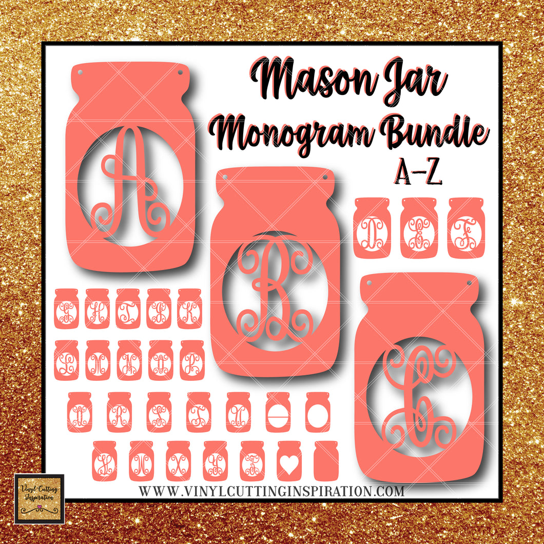 Mason Jar Monogram Bundle, Mason Jar, Mason Jar Svg, Mason Jar Decor, Mason Jar Cut File, SVG Files, Cricut Files, Svg Files - Vinyl Cutting Inspiration