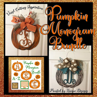 Pumpkin Monogram Svg, Bundle, Fall Pumpkin SVG, Monogram Pumpkin Svg, Personalized Pumpkin with initial, SVG Cut Files, Svg images, Dxf cut - Vinyl Cutting Inspiration