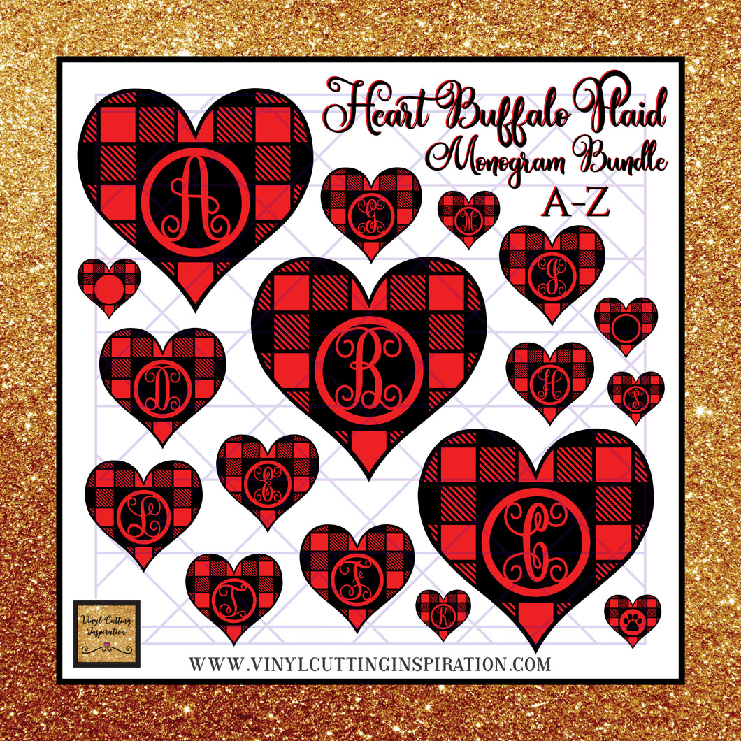 Mongram Heart Svg Bundle, Buffalo Plaid Heart Svg, Monogram Bundle, Happy Valentine's Day Y'all Svg, Valentines Day Svg, Valentine Svg, Valentines Svg, Love Svg, Heart Svg, Love Heart Svg, Cutting Files Cricut, Svg Files - Vinyl Cutting Inspiration