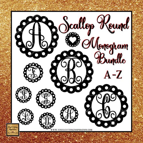 Scallop Round Monogram Bundle, Monogram Bundle, Scallop Svg, Circle Svg, Circle Monogram Svg, Cutting Files for Cricut and Silhouette, Laser Cutting Files - Vinyl Cutting Inspiration