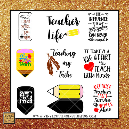 Teacher Appreciation Bundle!  Total of 73 Designs! Includes FREEBIES - Vinyl Cutting Inspiration