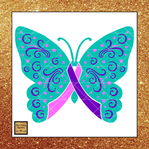 Thyroid Awareness Ribbon Svg, Thyroid Cancer Ribbon, Thyroid Cancer Ribbon with Butterly, Svg Cutting Files, Svg Files, Svg Images, Cancer Ribbons - Vinyl Cutting Inspiration