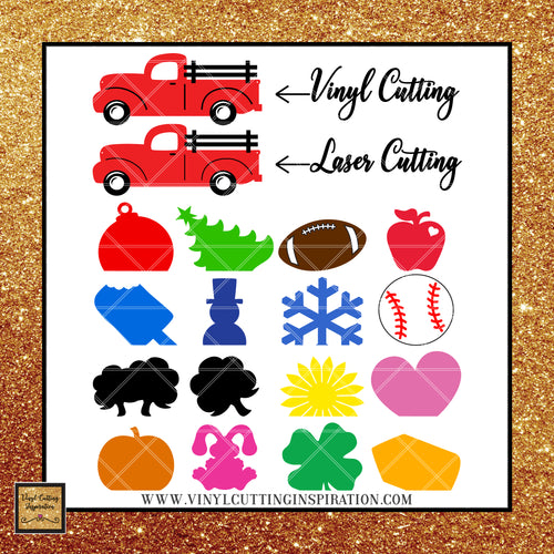 Vintage Truck, Craft Project, Seasonal Calendar with Attachments Cutting Files, Svg Files, Vintage Red Truck with Accessories, Dxf Files, Laser Cutting Files, Laser Cutting Templates - Vinyl Cutting Inspiration